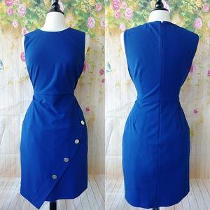 Gorgeous Blue Button Detail Office Dress